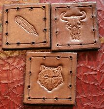 """Leather patch lot - pack of 3 - 1.75"""" x 1.75"""" - Feather, Wolf, Buffalo skull"""