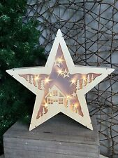 Gisela Graham wooden light up Christmas star with house and trees detail 36cm