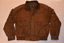 MEN'S VINTAGE 1980s 'WEAR ME OUT' BROWN LEATHER FLIGHT JACKET!QUILTED LINING! M