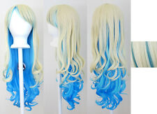 "30'' Long Curly w/ Long Bangs Flaxen Blonde, Blue Cosplay ""Nia"" Wig NEW"
