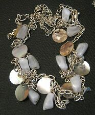 Lovely Costume Jewellery Necklace in silver tone metal with shell & stones white