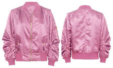 Womens Retro MA1 Classic Satin Bomber Biker Jacket Vintage Girls Zip Up Jacket