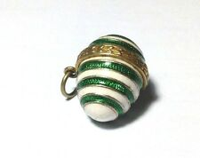 Vintage Sterling Silver Vermeil Green White Striped Enamel Egg Charm