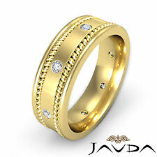 Mens Diamond Solid Ring Eternity Wedding Flat Braided Band 14k Yellow Gold 0.2Ct