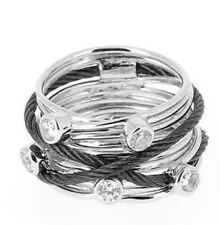Charriol Tango Sterling Silver White Topaz Black Cable Ring Stainless Steel New