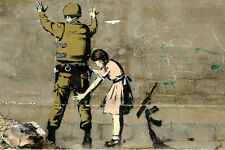 Banksy Canvas Print - Wall Art - GIRL SEARCHING SOLDIER - 20 x 14 inch canvas