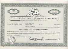 South Coast Life Insurance Company-64 shares v.1963