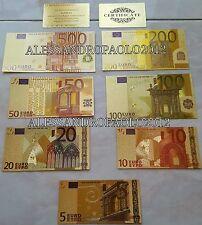 Banconote in Euro D'oro 24KT 5-10-20-50-100-200-500€ Collezione plated gold 24k