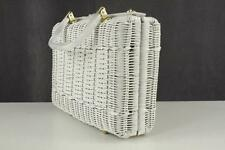 Vintage Box Purse White Basket & Lucite Trim Clasp Hand Made BRITISH HONG KONG