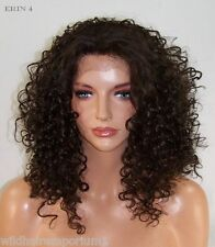 USA Dark Brown # 4 Curly Lace Front Wig Heat OK Iron safe Hand Jerry curl erin