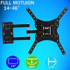 """Full Motion TV Wall Mount 15° Tilt Swivel For 27""""32""""37""""42""""46""""47""""55""""inch LED LCD"""