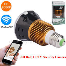 HD 1080P IR WiFi E27 LED Bulb CCTV Hidden Camera DVR Security Motion Detect Lamp