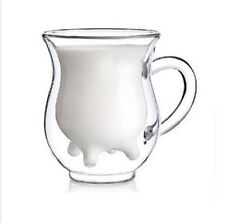 new COW shape double walled clear glass milk coffee tea mug cup w handle