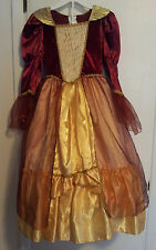 Girls-Size-M-6-8-Hoop-Dress-Victorian-Style-Costume-Burgandy-Gold-Long-Sleeves