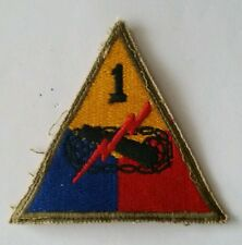 Patch US 1st armored division cut edge (blindées) WWII - 100 % ORIGINAL