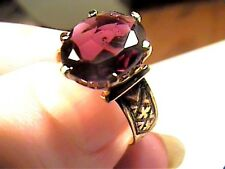 GARNET ring 6.5 wedding SOLITAIRE STERLING 925 yellow gold natural real oval WOW