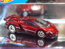 Hot Wheels Special Custom RED LAMBORGHINI VENENO Chrome Rims & Real Riders