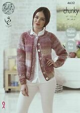 KNITTING PATTERN Ladies Easy Knit Larger Sizes Cardigan Chunky King Cole 4632
