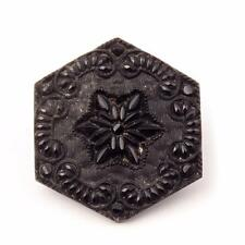 (1) 27mm Czech Victorian jet black lacy floral hexagon mourning glass button