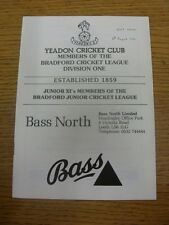 04/08/1990 Cricket Programme: Yeadon v Spen Victoria (date noted on front).  Tha