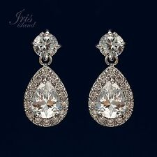 White Gold Plated Cubic Zirconia CZ Wedding Bridal Teardrop Dangle earrings 0811