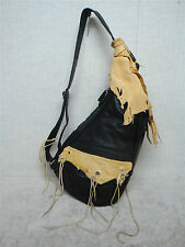 AMERIBAG (Medium) - Pocahontas Design - Black Leather Shoulder Bag Handbag Purse