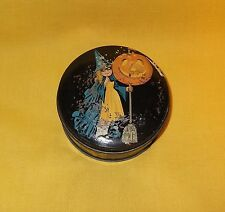 SMALL ANTIQUE TINDECO HALLOWEEN CANDY TIN WITCH JOL