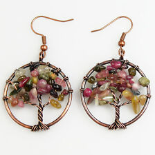 Natural Tourmaline Chip Beads Tree of Life Copper Round Pendant Hook Earrings