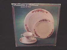 "NEW Tienshan ""POINSETTIA RIBBON"" Christmas Dinnerware Set 16 pcs Fine China"