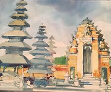 Original Vintage Watercolor Asian Pagodas Landscape Beautiful Rich Colors