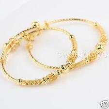 Amazing 24k Yellow Gold Filled 2pcs Baby's Bangle Children's Jewelry With Bells