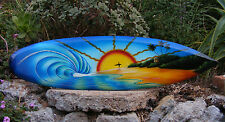 "Tropical Island Surfer Air Brush Wood Surfboard Wall Plaque 32""  Endless Summer"