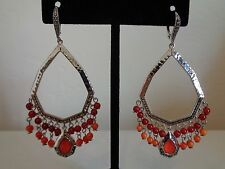 Beautiful! Judith Jack Sterling/925 Coral & Marcasite Dangle Statement Earrings