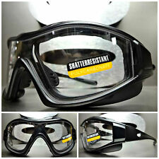 MOTORCYCLE BIKER Riding SAFETY Clear Lens PADDED SUN GLASSES GOGGLES Matte Black