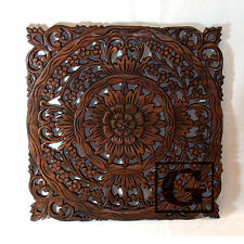 Lotus Flower Teak Wood Hand Carved Home Decor Wall Panel Art Decorative #1 gtahy