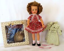 "IDEAL 12"" Vinyl SHIRLEY TEMPLE Doll Lot: 3 OUTFITS, SHOES, PANTIES, CURLERS"