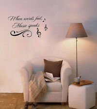 When Words Fail Music Speaks Vinyl Quote Me Wall Art Decals Letters Quote Art