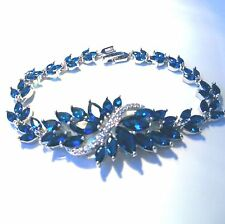 GORGEOUS STYLISH ROYAL BLUE TOPAZ/CZ BRACELET  SIZE   7""