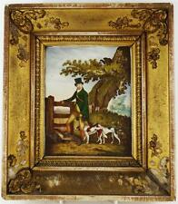 C1820 ANTIQUE ENGLISH PORCELAIN PLAQUE HUNTER WITH DOGS COLLIE WHIPPET FRAMED