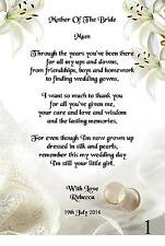 Wedding Day Thank You Gift, Mother Of The Bride Poem A5 Photo