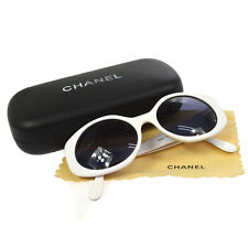 Auth CHANEL CC Logos Sunglasses Eye Wear Plastic White Italy Vintage M11948