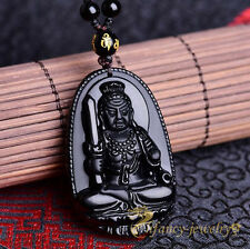 100% Natural Obsidian Hand-carved Acalanatha Buddha Amulet Pendant Free Necklace