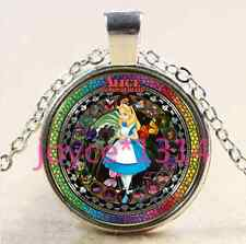 Alice in Wonderland Stained Cabochon silver Glass Chain Pendant Necklace#XP-2681