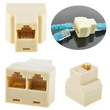 RJ45 CAT5 6 Ethernet cable LAN Port 1 to 2 Socket Splitter Connector Adapter PC
