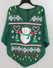 GREEN COZY PONCHO TOP METALLIC SNOWMAN CHRISTMAS PRINT  WOMEN'S SIZE XS NEW W/T