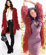 LOVERS + DRIFTERS Burgundy Rust Shaggy Teddy Fur Club Jacket Coat Boa ASOS