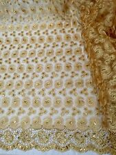 "GOLD METALLIC EMBROIDERY SEQUIN MESH LACE FABRIC 50"" WiIDE 1 YD"