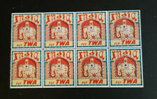 Vintage Airline Poster Stamp Label pane of 8 INDIA VIA TWA color elephant