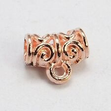Small Rose Gold 11mm Open Design Tube Slide Bead 3.5mm Hole Bail with Loop 4pc