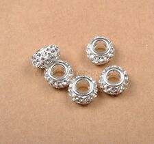 10Pcs Big Hole Czech Crystal Rhinestone Pave Rondelle Spacer Beads Fit European
